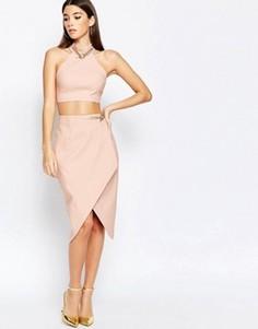 Асимметричная юбка миди с цепочкой Rare London - Розовый