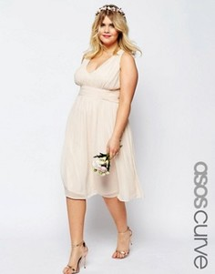 Платье миди ASOS CURVE WEDDING - Розовый
