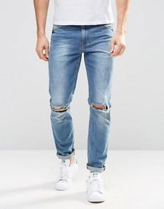 Рваные зауженные джинсы с потертостями ASOS - Синий