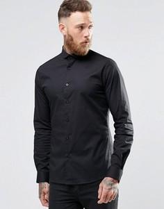 Эластичная зауженная рубашка с закругленным воротником Noose & MonkeyMonkey - Черный