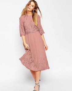 Платье миди с вышивкой ASOS PREMIUM - Розовый