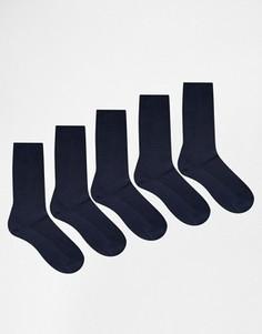 5 пар темно-синих носков из вафельного трикотажа ASOS - СКИДКА - Темно-синий