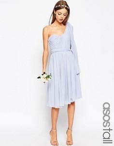 Универсальное сетчатое платье миди ASOS TALL WEDDING - Синий