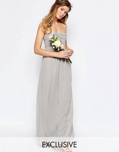 Присборенное платье макси с лифом-бандо Vila - Серый