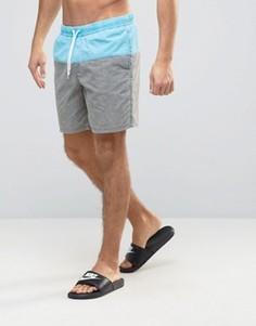 Серо-голубые шорты для плавания средней длины с эффектом кислотной стирки ASOS - Серый