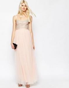 Платье макси с тюлевой юбкой Needle & Thread Coppelia - Розовый