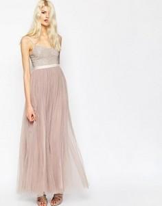Платье макси с тюлевой юбкой Needle & Thread Coppelia - Фиолетовый