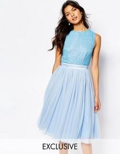 Платье миди с отделкой на лифе и тюлевой юбкой Maya - Синий