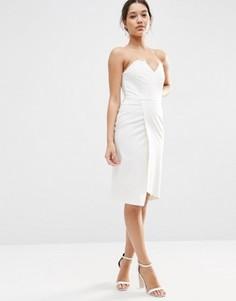 Асимметричное платье‑бандо миди ASOS - Бежевый