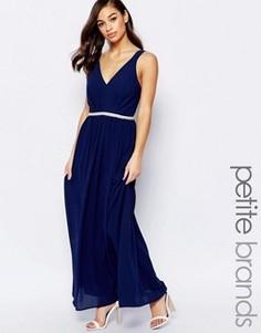 Шифоновое платье макси с отделкой пояса Jarlo Petite - Темно-синий