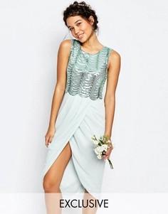 Платье миди с пайетками и открытой спиной TFNC WEDDING - Зеленый