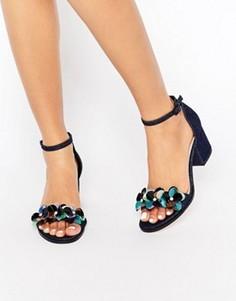 Босоножки на каблуке с декоративной отделкой ASOS HEXAGON - Синий