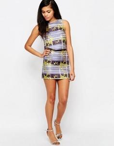Мини-юбка в полоску с цветочным принтом Glamorous - Фиолетовый