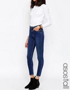Темные супероблегающие джинсы с завышенной талией ASOS TALL Ridley - Синий