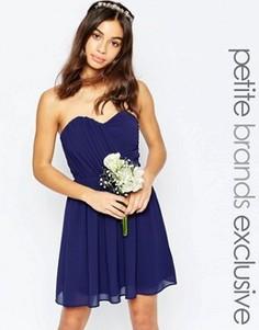 Шифоновое платье‑бандо мини TFNC Petite WEDDING - Темно-синий