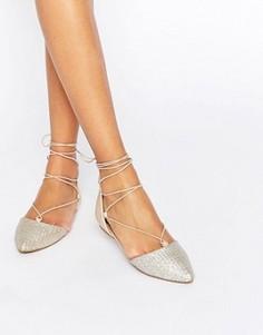 Серебристые туфли на плоской подошве со шнуровкой Call It Spring Cinnabar - Серебряный