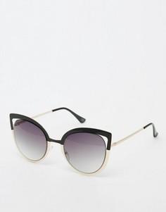Солнцезащитные очки кошачий глаз в металлической оправе колор блок со срезанными стеклами ASOS - Мульти