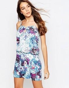 Платье-футболка с мраморным цветочным принтом See U Soon - Синий
