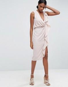 Платье-футляр миди с рюшами спереди ASOS - Бежевый