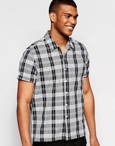 Черная клетчатая рубашка с короткими рукавами и воротником с отворотом ASOS - Черный