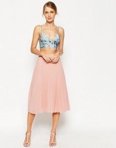 Плиссированная юбка миди ASOS - Бежевый