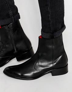 Кожаные ботинки на молнии Base London Lancelot - Черный