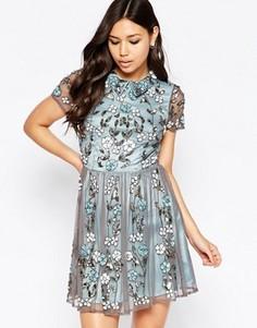 Короткое приталенное платье с цветочной отделкой и воротником Maya - Синий