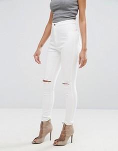 Зауженные суперэластичные джинсы с завышенной талией и прорезами на коленях Missguided Vice - Белый