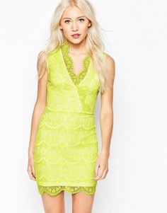 Кружевное платье с запахом Lipstick Boutique Petite - Желтый