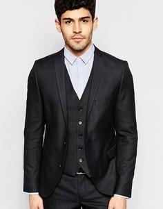 Стретчевый пиджак зауженного кроя в клетку Selected Homme - Черный