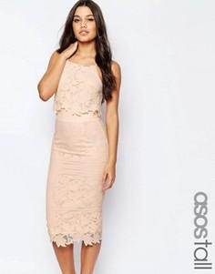 Платье миди из цветочного кружева с фигурными краями ASOS TALL - Розовый