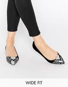 Балетки для широкой стопы с острым носком ASOS LEAPFROG - Черный