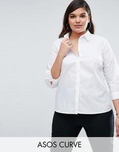 Белая рубашка с рукавами 3/4 ASOS CURVE - Белый