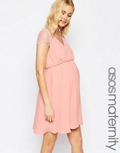 Кружевное платье мини для беременных ASOS Maternity Kate - Розовый