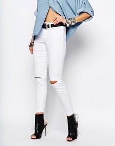 Зауженные джинсы с высокой талией Noisy May Devil - Белый