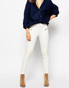 Байкерские джинсы скинни с ПУ‑вставками в области колен Pepe Jeans - Кремовый