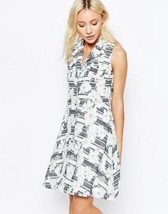Платье-рубашка на пуговицах с полосками и цветами Yumi - Кремовый