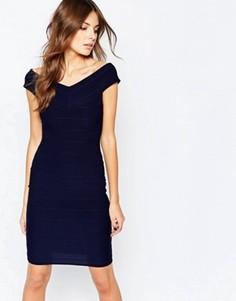 Бандажное платье с открытыми плечами Lipstick Boutique Ava - Темно-синий
