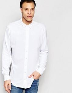 Рубашка классического кроя из ткани пике ADPT - Белый