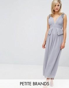 Платье макси с глубоким вырезом, отделкой и баской на талии Little Mistress Petite - Серый