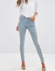 Голубые джинсы скинни с классической талией и потертостями ASOS LISBON - Синий