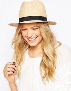 Соломенная шляпа-трилби с узкой лентой ASOS - Бежевый