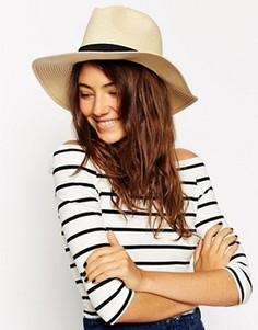 Соломенная шляпа-федора ASOS - Бежевый