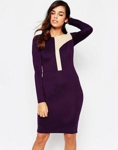 Платье миди с асимметричной сетчатой вставкой Amy Childs Camilla - Фиолетовый