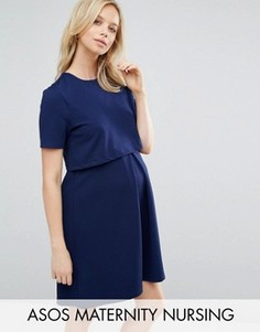 Приталенное платье с двухслойным лифом для кормящих мам ASOS Maternity - Синий