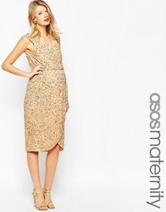 Платье с пайетками и запахом спереди для беременных ASOS Maternity - Золотой