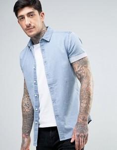 Выбеленная джинсовая рубашка скинни ASOS - Синий
