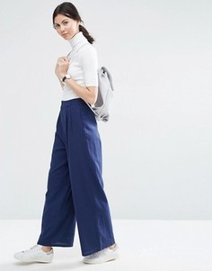 Свободные фактурные брюки с широкими штанинами ASOS - Темно-синий