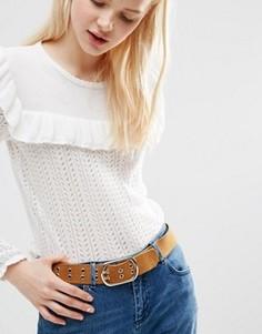 Замшевый ремень для джинсов с люверсами и двумя язычками ASOS - Рыжий