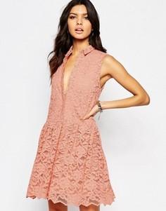 Кружевное платье Y.A.S Roman - Розовый